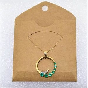 10k Yellow Gold and real emerald necklace